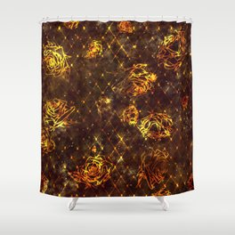 Diamond Rose Pattern - Maroon and Gold Shower Curtain