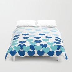 Heart Drops-blue Duvet Cover