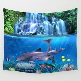 The Dolphin Family Wall Tapestry