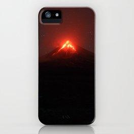 Illuminated tourist tent at night on background of erupting Klyuchevskaya Sopka iPhone Case