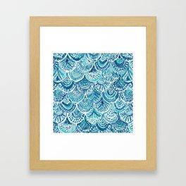 SPLASH Blue Watercolor Mermaid Scales Framed Art Print