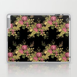 Colorful floral pattern on a black background . Laptop & iPad Skin