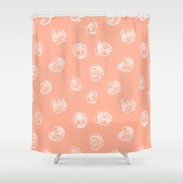 Sweet Life Rosebud Peach Coral Pink Shower Curtain