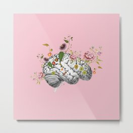 Brain Flowers Collage Metal Print