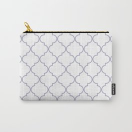 Quatrefoil - white and silver Carry-All Pouch