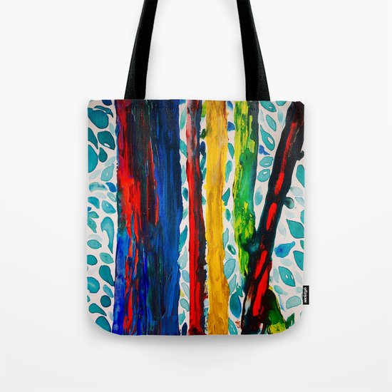 Rainbow Eucalyptus Graffiti Artist Tree naturally shedding bark from the South Pacific Tote Bag