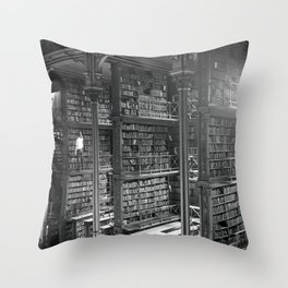 A Book Lover's Dream - Cast-iron Book Alcoves of Leather bound books Old Cincinnati Public Library Throw Pillow
