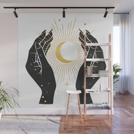 Gold La Lune In Hands Wall Mural