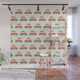 Christmas Tree Cars Red Wall Mural