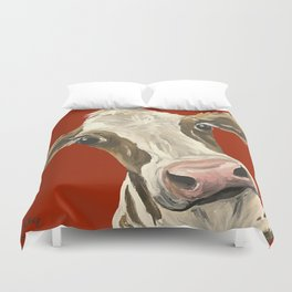Cute Cow Painting, Red Cow Painting Duvet Cover