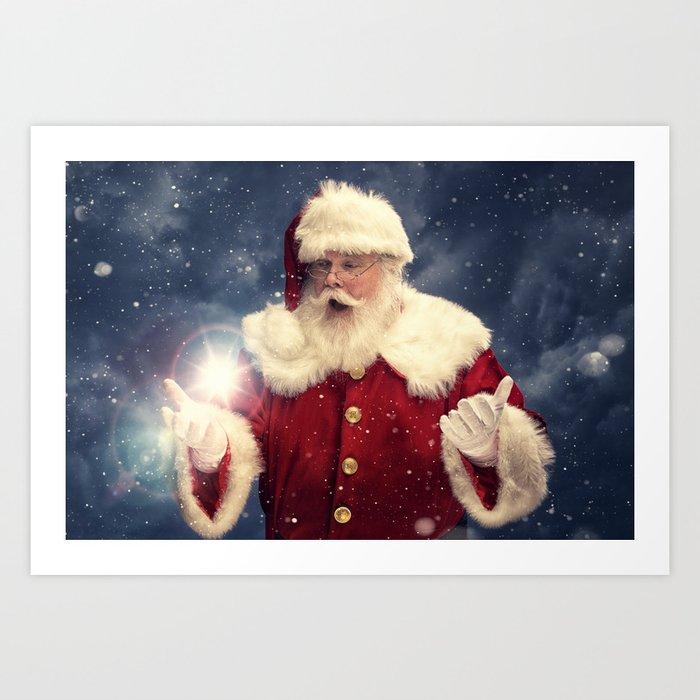 Magic Of Christmas.A Real Santa Claus Creating The Magic Of Christmas Art Print By Realsantaclausimages