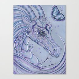 Frosty Lavender Dragon and butterfly Canvas Print