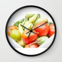 vegetables Wall Clocks featuring vegetables by Marcel Derweduwen