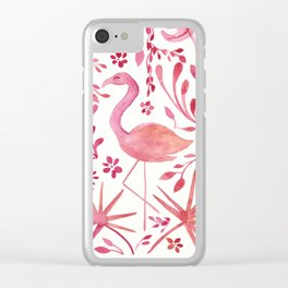 Flamingos at the Beach Clear iPhone Case