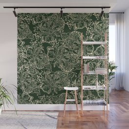 Hand painted gold forest green modern floral Wall Mural
