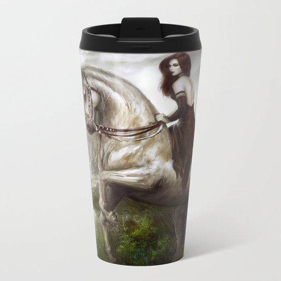 Morning welcome - Royal redead girl riding a white horse Metal Travel Mug