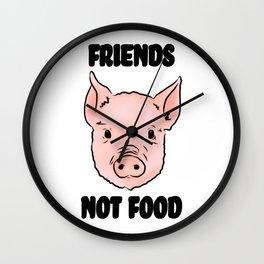 Cute Pig Vegan Friends Not Food Illustration Wall Clock