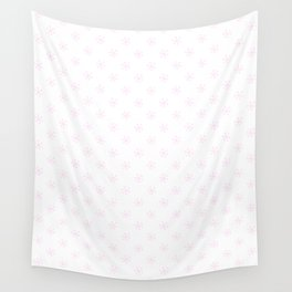 Pink Lace Pink on White Snowflakes Wall Tapestry