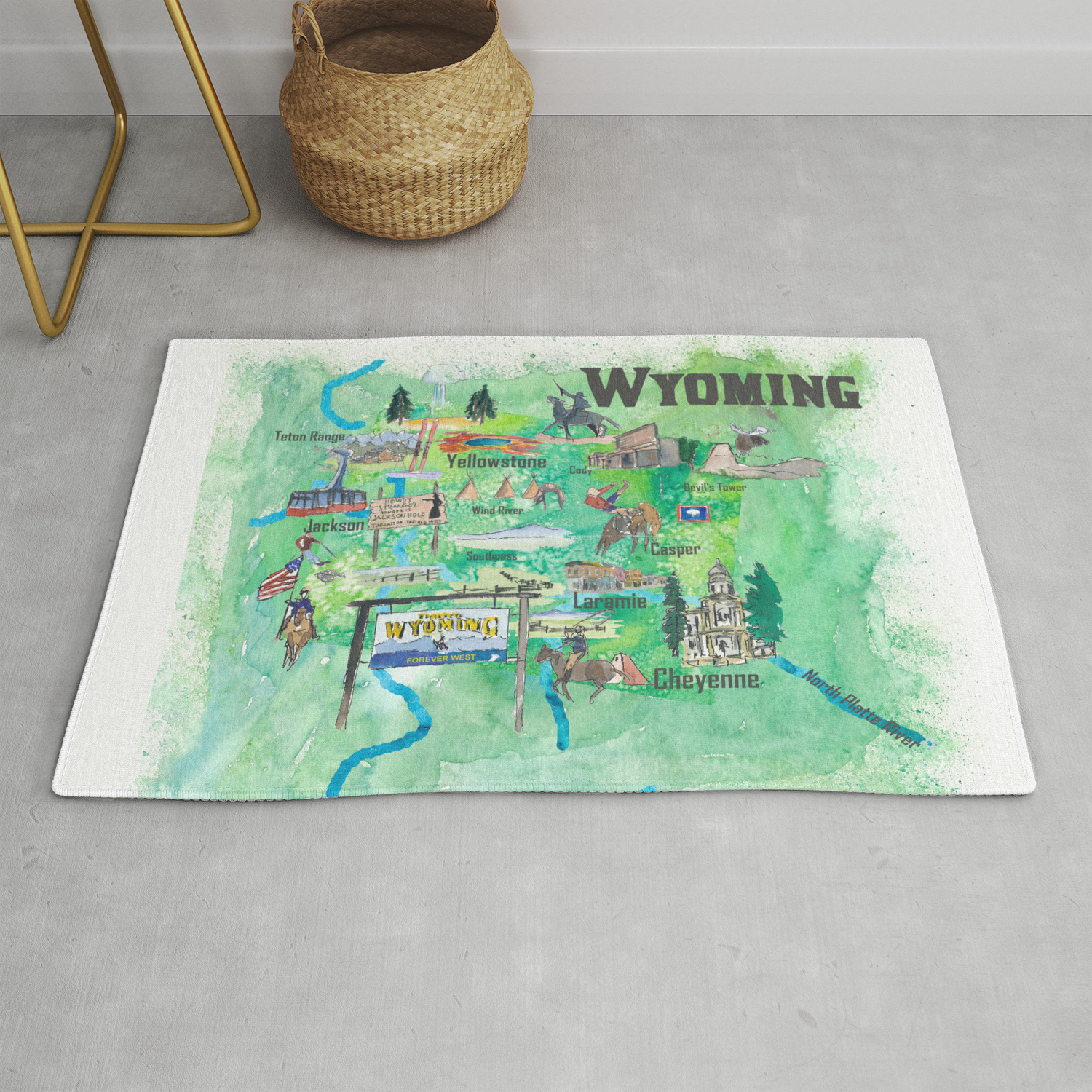 Usa Wyoming State Illustrated Travel Poster Favorite Map Rug By Artshop77 Society6