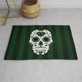 Día de los Muertos in Emerald Green Rug