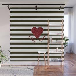 LOVE YOU Valentine print. Red glitter heart and black stripes congratulation card Wall Mural