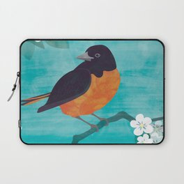 Oriole Bird on Teal Laptop Sleeve
