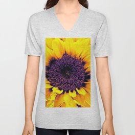 Purple Floral Center Of Butter Yellow Sunflower Unisex V-Neck