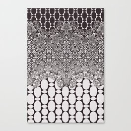 floral border with geo mix in black and white Canvas Print