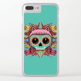 Cute Skull Kitten Clear iPhone Case