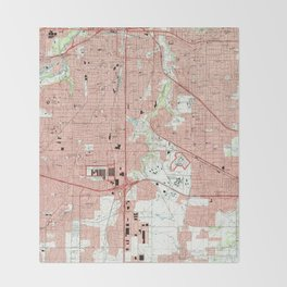 Fort Worth Texas Map (1995) Throw Blanket