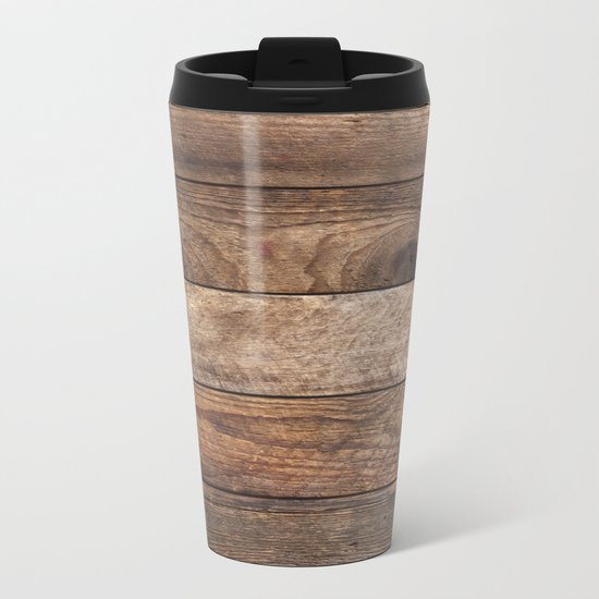 Vintage Wood Metal Travel Mug