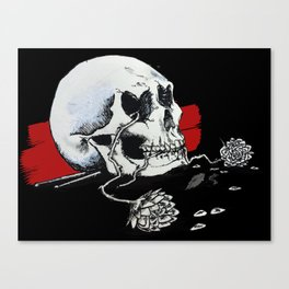 Hearteyes Skull + Guitar Picks Flowers Canvas Print