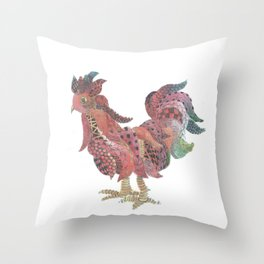 Zen Rooster Throw Pillow