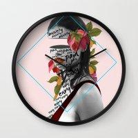 pain Wall Clocks featuring Pain by Cristina Guerrero