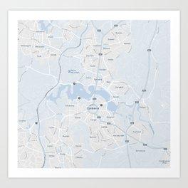 Minimalist Modern Map of Canberra, Australia 3 Art Print
