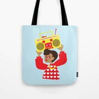 transistor Tote Bags featuring Trini Transistor  by The Pairabirds