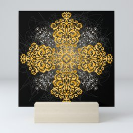 Floral golden and silver ornament Mini Art Print