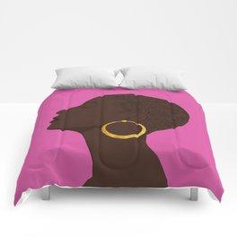 BBLOOMM - Illustration, Floral, Big Chop, Melanin, Pink Comforters