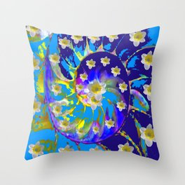 MODERN ART GARDEN BLUE SPIRAL &  DAFFODILS ART Throw Pillow