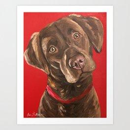 Chocolate Labrador Retriever Art from Chocolate lab painting Art Print