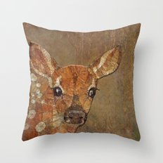 fawn in the wood Throw Pillow