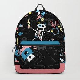 Crazy MonkeyTeddyBears with Skeleton - Pastel on Black Pattern Backpack