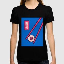 Sushi Minimal Japanese Food Chopsticks - Blue T-shirt