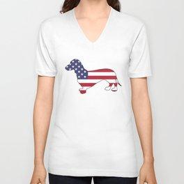"""Dachshund """"American Flag"""" Unisex V-Neck"""