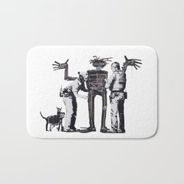 Banksy Boy and Dog in a Stop and Search Basquiat Homage Artwork, Capitalism Criticism, Artwork for P Bath Mat