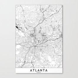 Atlanta White Map Canvas Print