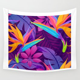 Tropical leaves and paradise flowers in night jungle. Seamless exotic detailed botanical pattern Wall Tapestry