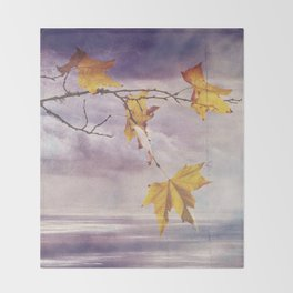 Faded Leaves - JUSTART © Throw Blanket