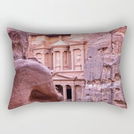 Petra Al Khazneh Treasury Temple Ruins by Day Rectangular Pillow