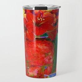 RED AMARYLLIS RED-GREEN VASE STILL LIFE Travel Mug